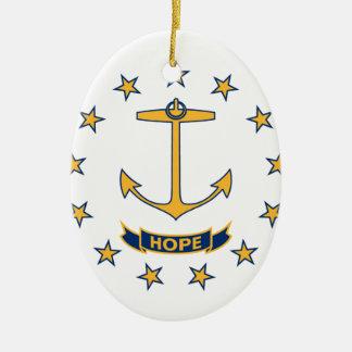 Ornamento De Cerâmica Bandeira de Rhode - ilha