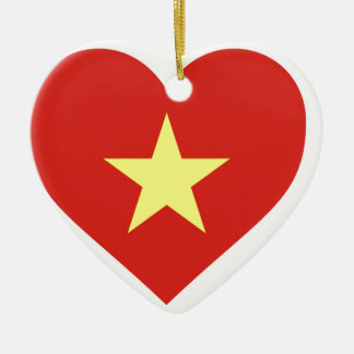 Ornamento De Cerâmica Bandeira de Vietnam - vàng do sao do đỏ do amor