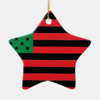 Ornamento De Cerâmica Bandeira do afro-americano - preto e verde