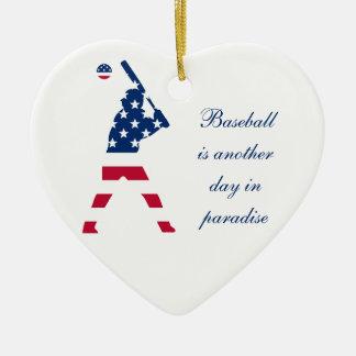 Ornamento De Cerâmica Bandeira do americano do basebol de América