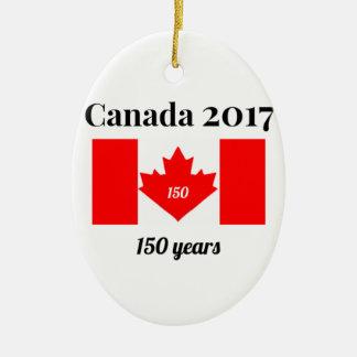 Ornamento De Cerâmica Bandeira do coração de Canadá 150 em 2017