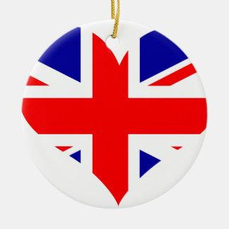 Ornamento De Cerâmica Bandeira do coração de Union Jack