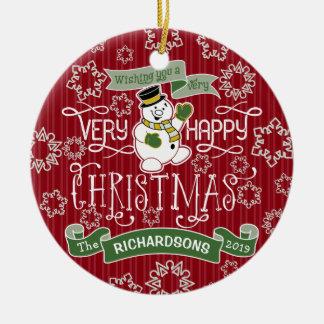 Ornamento De Cerâmica Bandeira do costume da tipografia do Natal feliz