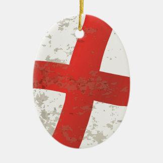 Ornamento De Cerâmica Bandeira do Grunge de Inglaterra e de St George