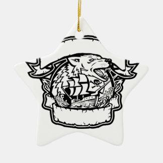 Ornamento De Cerâmica Bandeira do navio de pirata do lobo retro