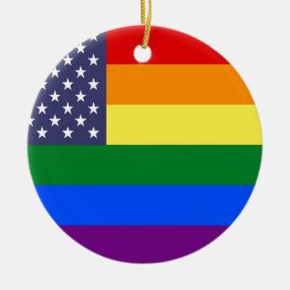 Ornamento De Cerâmica Bandeira do orgulho do arco-íris dos E.U.