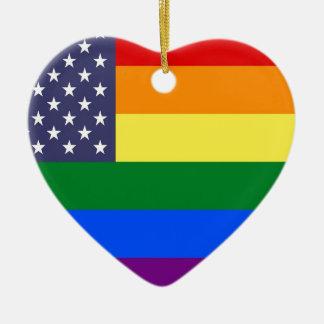 Ornamento De Cerâmica Bandeira do orgulho dos E.U.