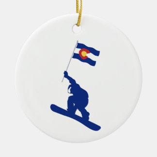 Ornamento De Cerâmica Bandeira do Snowboard de Colorado