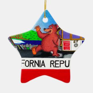 Ornamento De Cerâmica Bandeira do urso de San Francisco Califórnia