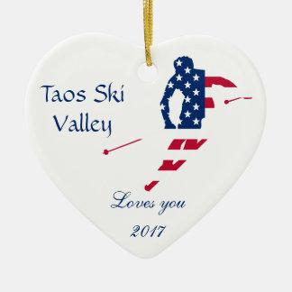 Ornamento De Cerâmica Bandeira dos EUA do americano de esqui de América