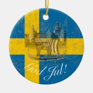 Ornamento De Cerâmica Bandeira e símbolos da suecia ID159