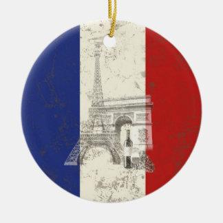 Ornamento De Cerâmica Bandeira e símbolos de France ID156