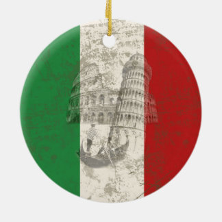 Ornamento De Cerâmica Bandeira e símbolos de Italia ID157
