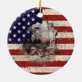 Ornamento De Cerâmica Bandeira e símbolos dos Estados Unidos ID155