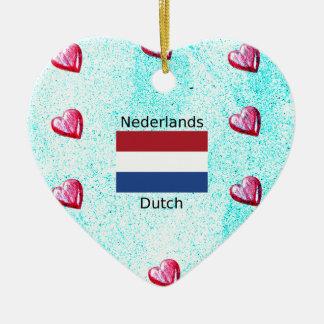 Ornamento De Cerâmica Bandeira holandesa e design holandês da língua