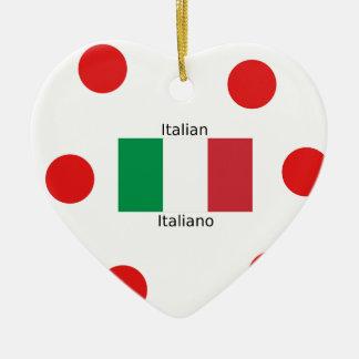Ornamento De Cerâmica Bandeira italiana e design da língua de Italia