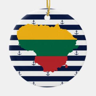 Ornamento De Cerâmica Bandeira/mapa de Lithuania em fundo listrado