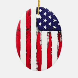 Ornamento De Cerâmica Bandeira patriótica americana do Grunge