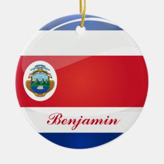 Ornamento De Cerâmica Bandeira redonda brilhante de Rican da costela