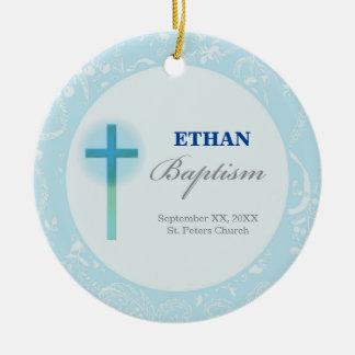 Ornamento De Cerâmica Baptismo azul do menino do laço