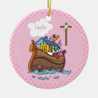 Ornamento De Cerâmica Baptismo customizável do bebê da arca de Noah,
