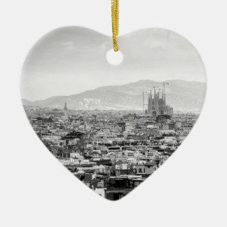 Ornamento De Cerâmica Barcelona preto e branco