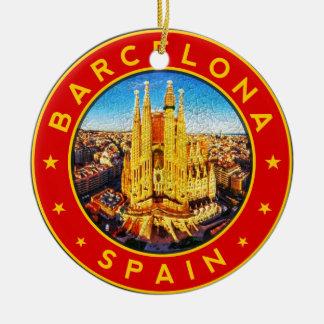 Ornamento De Cerâmica Barcelona, Spain, circle, red