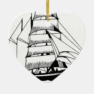Ornamento De Cerâmica barco de vela branco preto grande