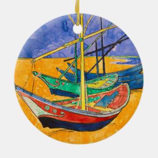 Ornamento De Cerâmica Barcos de Vincent van Gogh impressionista