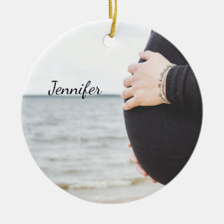 Ornamento De Cerâmica Barriga grávida personalizada