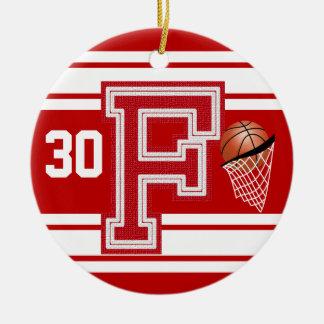 Ornamento De Cerâmica - Basquetebol vermelho todas as letras de time do