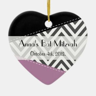 Ornamento De Cerâmica Bastão Mitzvah - ziguezague, Chevron - preto roxo
