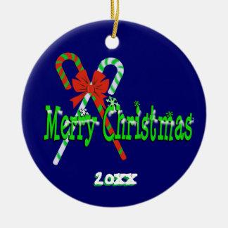 Ornamento De Cerâmica Bastões de doces do Feliz Natal