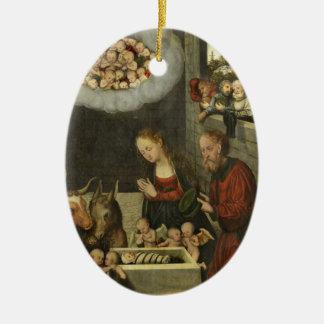 Ornamento De Cerâmica Bebê adorador Jesus dos pastores por Cranach
