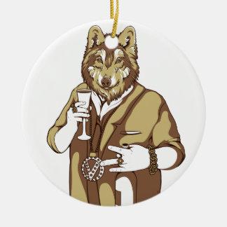 Ornamento De Cerâmica bebendo ligado humano do cão