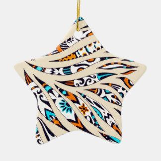 Ornamento De Cerâmica Bege Funky manchado de tinta da arte do teste
