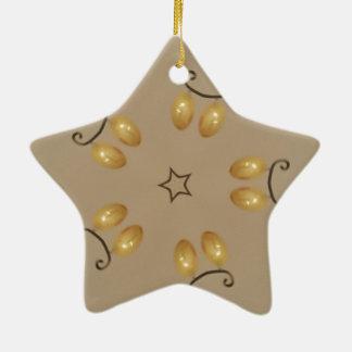 Ornamento De Cerâmica Bege rústico dos ovos da páscoa dourados amarelos