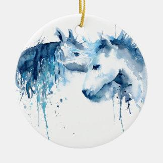 Ornamento De Cerâmica Beijo do cavalo da aguarela, amor do cavalo