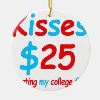 Ornamento De Cerâmica beijos que começam meu fundo da faculdade