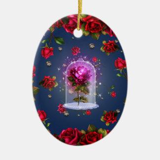 Ornamento De Cerâmica Beleza mágica Enchanted da rosa vermelha & o
