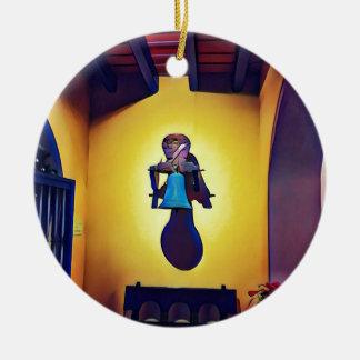 Ornamento De Cerâmica Bell montada artística ingénua da igreja