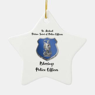 Ornamento De Cerâmica Bênçãos de St Michael ao agente da polícia novo