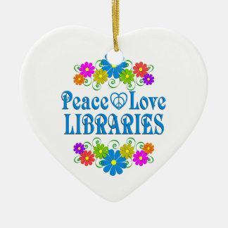 Ornamento De Cerâmica Bibliotecas do amor da paz
