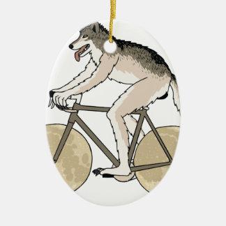 Ornamento De Cerâmica Bicicleta da equitação do homem-lobo com rodas da
