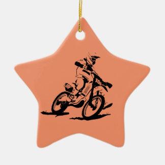 Ornamento De Cerâmica Bicicleta e cavaleiro simples de Motorcross
