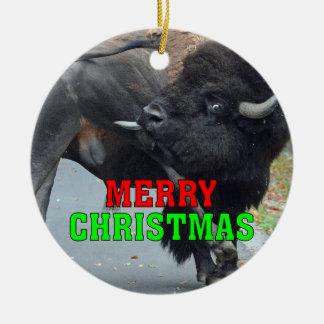 Ornamento De Cerâmica Bisonte engraçado de Bull que lambe seus