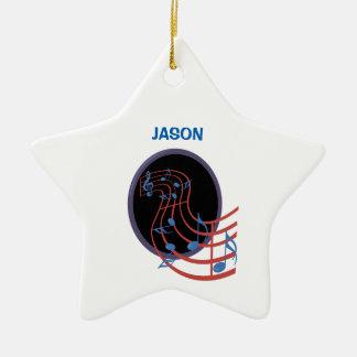 Ornamento De Cerâmica Boa sorte, círculo preto da música