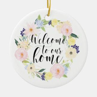 Ornamento De Cerâmica Boa vinda floral da grinalda do primavera Pastel a