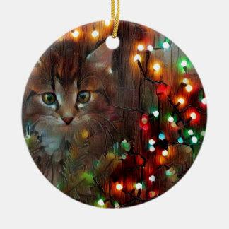 Ornamento De Cerâmica Boas festas do gatinho