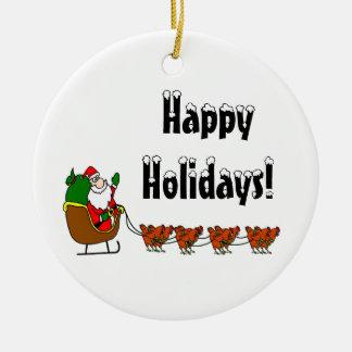 Ornamento De Cerâmica Boas festas papai noel e galinhas